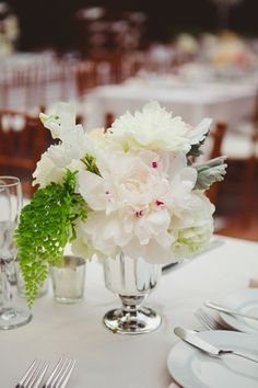 A centerpiece of peonies.