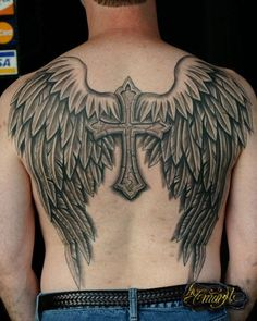 What does cross with wings tattoo mean? We have cross with wings tattoo ideas, designs, symbolism and we explain the meaning behind the tattoo. Wing Tattoo Men, Wing Tattoos On Back, Wing Tattoo Designs, Back Tattoos For Guys, Cross With Wings Tattoo, Angel Wings Tattoo On Back, Cross Tattoo For Men, Jesus Tattoo, Tattoo Son