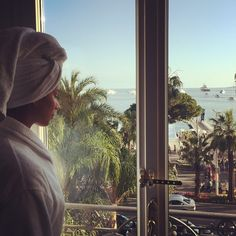 """""""Getting ready for the night #Cannes #Amy"""""""