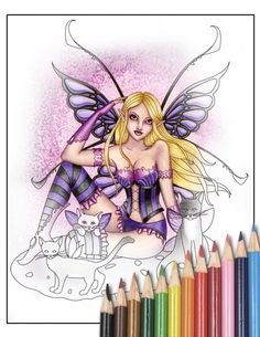 Digital Stamp  Printable Coloring Page  Fantasy Art  by aurella27, $2.25