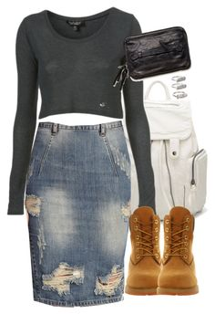 A fashion look from September 2015 featuring blue pencil skirt, timberland boots and white bag. Browse and shop related looks. Timberland Outfits Women, Timberland Boots Outfit, Timberland Style, Cool Outfits, Casual Outfits, Fashion Outfits, Modest Fashion, Women's Fashion, How To Wear Timberlands