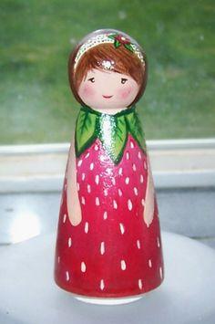 peg dolls   Strawberry peg doll
