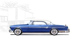 1955 Imperial Newport. This classy illustration is from the 1955 Imperial prestige brochure from Chrysler.