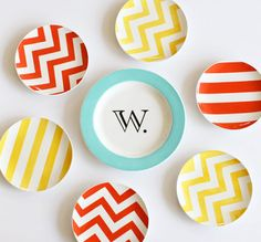 colorful hand painted tableware