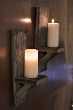 Barn wood candle holder Wall mounted candle by GrindstoneDesign