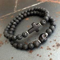 Mens-8MM-Black-Lava-Stone-Turquoise-Skull-Cross-Beaded-Stretch-Bracelet-Boho