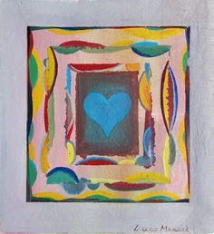 """""""Corazón encuadrado"""" , acrylic on canvas, 27 x 25 cm, 2017"""
