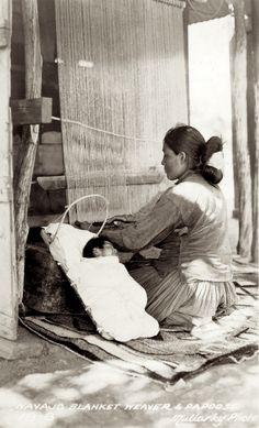 Woman weaving Navajo blanket.1920