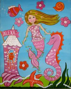 mermaid kids art girly wall art kids art by wendysworldart on Etsy, $70.00