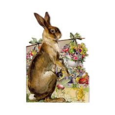 Die Cut Vintage Bunny Easter Card ~  lots of images that can be printed