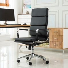 Roundhill Furniture Modica Chromel Contemporary High Back Office Chair, Gray, Black
