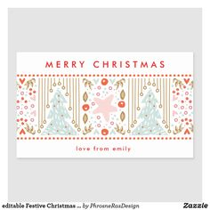 Shop editable Festive Christmas Pretty Holiday Sticker created by PhrosneRasDesign. All Holidays, Christmas Holidays, Holiday Cards, Christmas Cards, Merry Christmas Love, Christmas Card Holders, Custom Stickers, Activities For Kids, Stationery