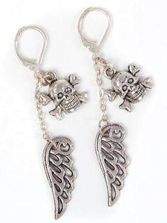 wings and skull!! Pendientes originales