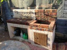 Brick Shelves, Front Yard Garden Design, Garden Sink, Outdoor Sinks, Rustic Loft, Brick Garden, Deco Originale, Shed Design, Paint Colors For Living Room