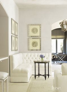 White Traditional Living Room Banquette