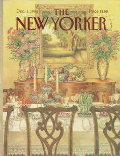 New Yorker cover by Jenni Oliver of table set for family gathering 12/1/86 Ready to frame