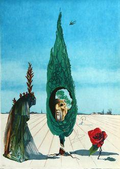 Salvador Dalí, Salvador Dali Enigma of The Rose (Death) Contemporary Art Surrealist Lithograph Salvador Dali Oeuvre, Salvador Dali Artwork, Dali Prints, Photo D Art, Surrealism Painting, Vladimir Kush, Art Moderne, Surreal Art, Oeuvre D'art
