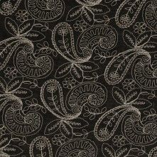 Black/Beige Paisley Embroidered Cotton Voile