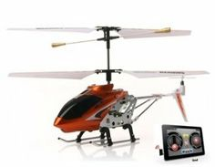 3-Channel RC Helicopter Compatible with iPhone, iPad, iPod Infrared Remote Controller (Red) by China. $80.98. This RC helicopter is remotely controlled by iPhone, iPad, iPod Infrared controller (not included). ?Overcurrent protection, overcharge protection, suspend and blocked function, and memory function. 3D flight; 3 channels; Equipped with a gyroscope. Infared remote control system. Material: Aluminum alloy. Type: RC helicopter;  Channel: 3-Channel;  Frequency...