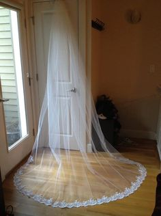 French Alencon LACE EDGE Cathedral Veil 108 x by fascinatingbride, $275.00