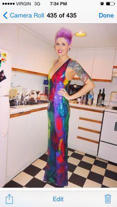 Adala Clothing latex dress, custom rainbow latex from Yummy Gummy. www.adalaclothing.com