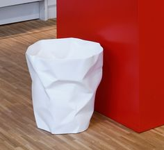 Bin Bin white by Essey    Bin Bin quickly became a design classic and has been the recipient of no less than three international awards. Resembling a crumpled piece of waste paper Bin Bin states its function from the moment you see it.