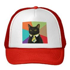 Custom Business Cat Hat Business Cat, Popular Colors, Cat Hat, Yellow, Blue, Hot Pink, Cats, Red, Stuff To Buy