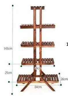 Estante de Madera de 8 niveles estante de baño Soporte de Planta Jardín Plantador Olla titular carbonizado