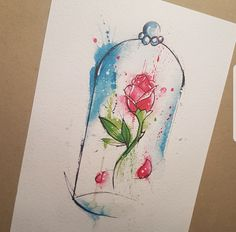 A4 Enchanted rose from Beauty and the Beast printed 250gsm watercolour paper