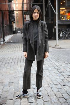 Leandra Medine in a casual, all-gray outfit