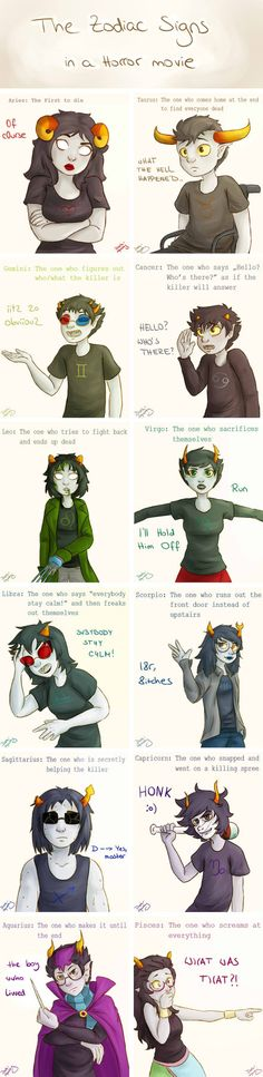 The Zodiac signs in a horror movie by darksquishy #HomestuckYeah!!X33