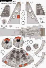 Millennium Falcon Page 3 of 8 Paper Crafts Origami, 3d Paper, Paper Toys, Star Wars Birthday, Star Wars Party, Papercraft Star Wars, Nave Star Wars, Cardboard Model, Free Paper Models
