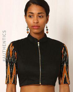 Buy Black Indie Picks Handwoven Ikat Cotton Blouse