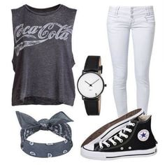 bandanas coca cola grey t-shirt white jeans chucks converse cool girl style swag shirt