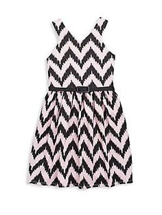 Pippa & Julie Girl's Chevron Fit-&-Flare Dress - Black - Blush - Size