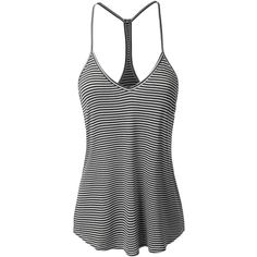 LE3NO Womens Loose Striped Spaghetti Strap Tank Top ($16) ❤ liked on Polyvore featuring tops, loose tops, loose fitting tank, cut loose tops, loose fit tank and loose fitting tank tops