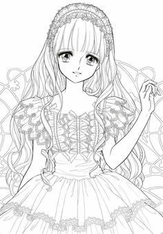 Anime girl coloring nice stunning coloring pages cute images. 40 ...