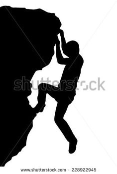 Vector silhouette rock climber, successful concept