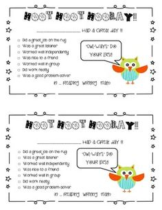 "{FREEBIE} Use this in your classroom to send home good notes to students that ""owl-ways"" do a great job! Super cute!"