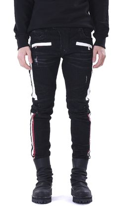 Faux Leather Trimmed Biker Jeans