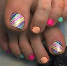 festive summer multi-color & stripes – Beauty & Seem Beautiful Pretty Toe Nails, Cute Toe Nails, Fancy Nails, Pedicure Nail Art, Pedicure Designs, Toe Nail Designs, Pedicure Ideas, Nail Ideas, Gel Nails