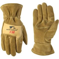 Wells Lamont Cowhide Leather Flame Resistant Work Gloves, Tan, Beige