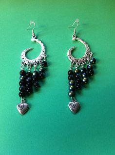 https://www.etsy.com/shop/MoggysMall  #black, #beads, #earrings, #silver, #heart, #charms, #swirl