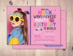 Drive by birthday parade invitation, social distancing drive-by birthday party invite, car birthday parade, quarantine party, digital file Happy Birthday Yard Signs, Car Birthday, Carnival Birthday, Birthday Parties, Birthday Party Invitations, Baby Shower Invitations, Invites, Girls Driving, Diy Party Supplies