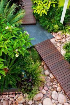 Asian Landscape/Yard with 8-Ft. Cedar/Fir-Slat Straight Walkway, Pathway, Raised beds