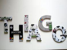 Soccer Sports Wall Letters 8 Custom by BearySpecialScrappin Sports Wall, Soccer Sports, Soccer Room Decor, Boy Room, Kids Room, Funky Bedroom, 3d Wall Decor, Nursery Decor, Nursery Letters