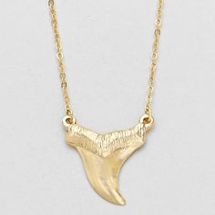 Dainty Shark Tooth Pendant Necklace - Gold