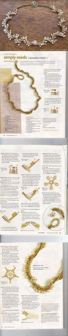 Simply Seeds, Golden Twist Necklace.   Tutorial from Beadwork Magazine, October 2010