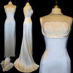 """Vintage Ivory Silk Wedding Dress L ~ Shelf Bust ~ Deep """"V"""" Back ~ Deadstock"""