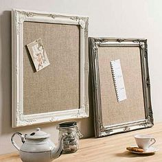 Decorative Framed Hessian Memo Board - interior accessories - maybe? Kitchen Notice Board, Fabric Memo Boards, Market Displays, Flat Ideas, Frame Crafts, Hessian, Diy And Crafts, Burlap Crafts, Summer Crafts
